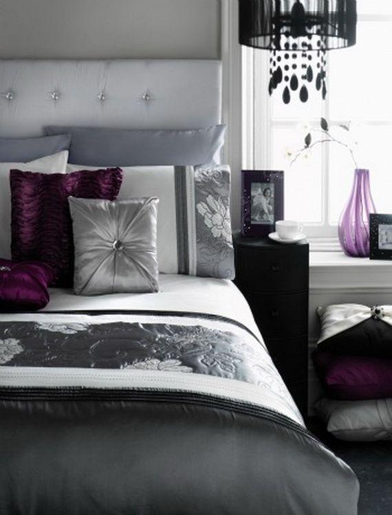 Elegant Black Bedroom Decorating Ideas | Plum bedroom, Silver .