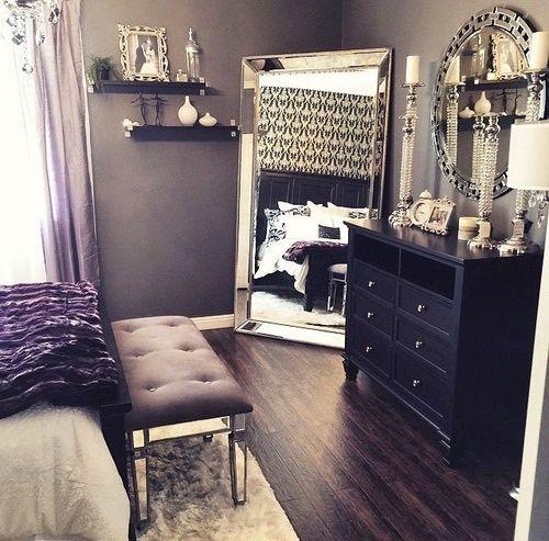 beautiful bedroom decor, black dresser, silver mirror, silver .