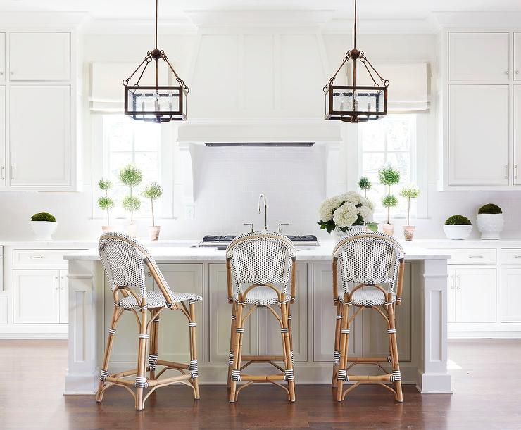 White Kitchen with Black and White French Bistro Counter Stools .
