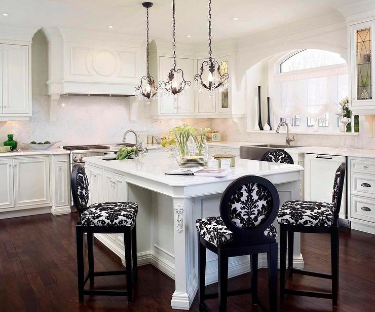 Black and White Damask Counter Stools - Transitional - Kitch