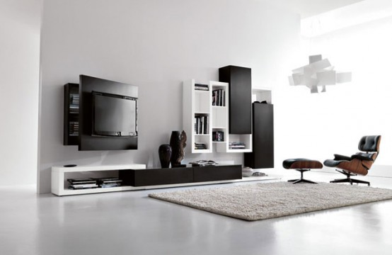 Black and White Living Room Furniture with Functional Tv Stand .