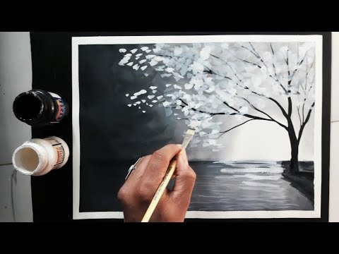 easy black and white painting ideas tutorial - YouTu
