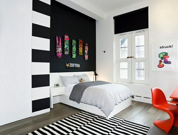 Bold bedroom color ideas with black and white accents | Interior .