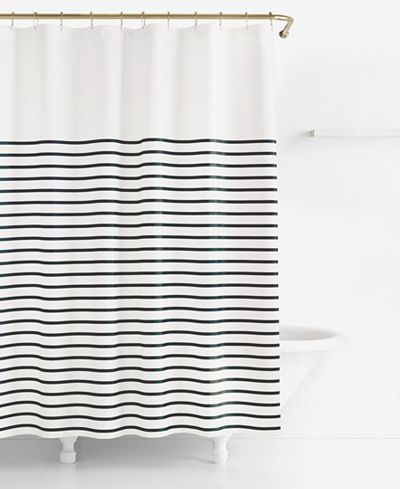 Harbour Stripe Shower Curtain | Black shower curtains, Striped .