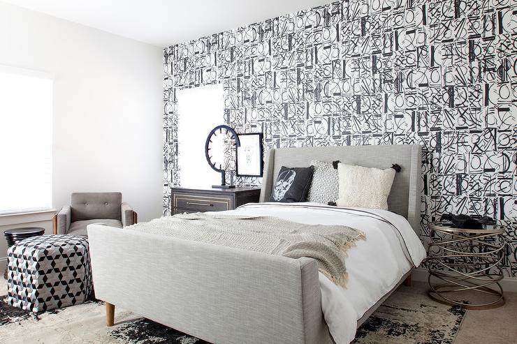 Gray Wingback Bed with Black and White Wallpaper - Contemporary .