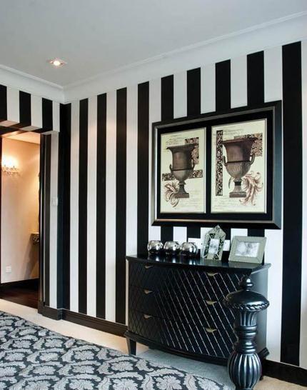 Black white stripes wallpaper in 2020 | Striped walls, Striped .