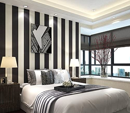 Modern Extra-thick Non-woven Black and White Striped Wallpaper .