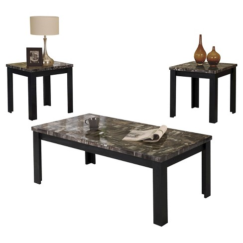 3 Piece Carly Pack Coffee End Table Set Faux Marble And Black .