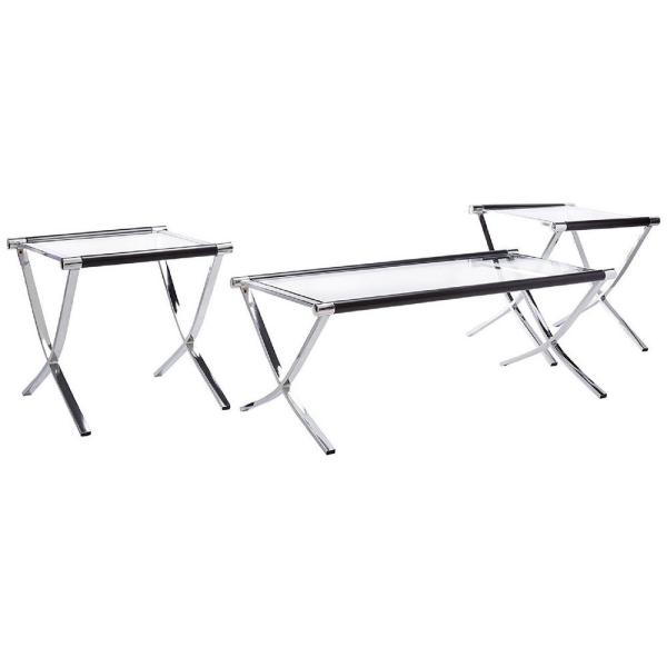 Kings Brand Furniture Chrome and Black Glass Top Coffee Table and .