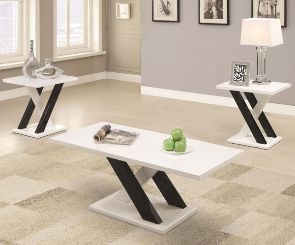 3 PC High Gloss Black & White Coffee Table Set 701011 by Coaster .
