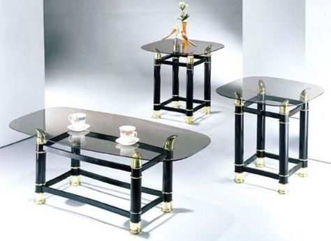 "3-piece Pack 2"" Tube Black Finish Horn Coffee/end Table Set We ."