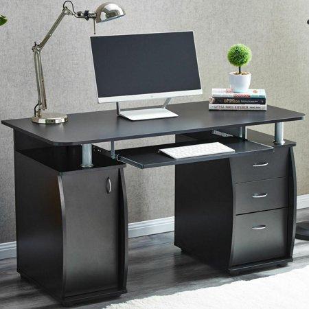 Ktaxon Black 3 Drawers Computer Desk Black Study Workstation .