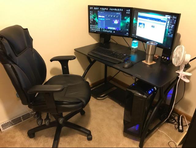Steel Black Gaming Desk Foldable Office Desk Professional Computer .