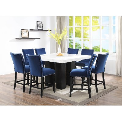 Marble and Black 9 Piece Counter Height Dining Set - Camila | RC .