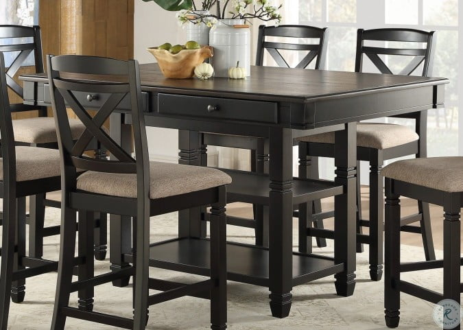 Baywater Natural And Black Counter Height Dining Room Set from .