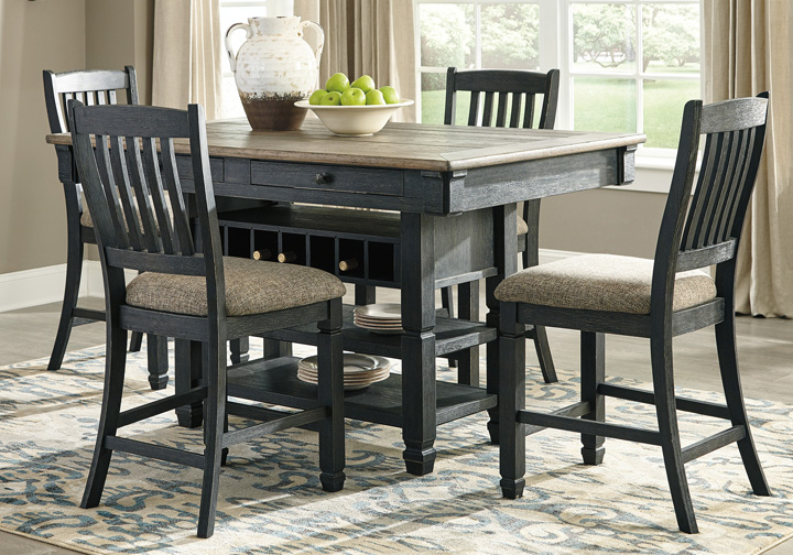 Tyler Creek Two-Tone Black 5 Pc. Counter Height Dining Set .