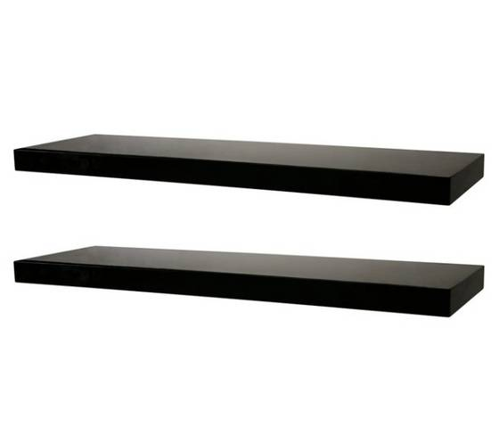 Black Floating Wall Shelf with Hidden Bracket(id:4663915) Product .