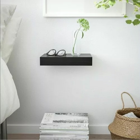 IKEA Wall Art | Lack Black Floating Wall Shelf | Poshma