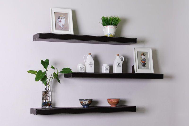 black floating shelves | Floating shelves, Floating wall shelves .