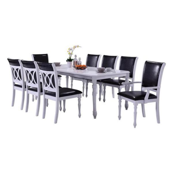 Oakland Living Indoor Black and White Modern 9-Piece Dining Set .