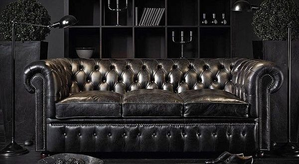 Black Chesterfield sofa. The French Bedroom Company .