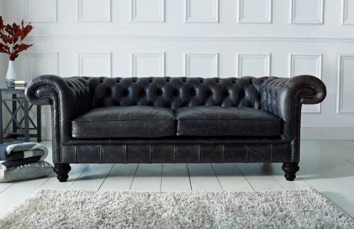 Paxton Black Leather Chesterfield | Black leather chesterfield .