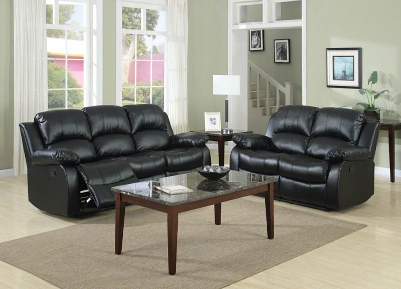 9700BLK-3 Cranley Reclining Leather Living Room Set in Bla