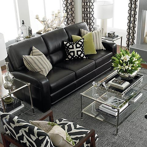 black leather living room furniture