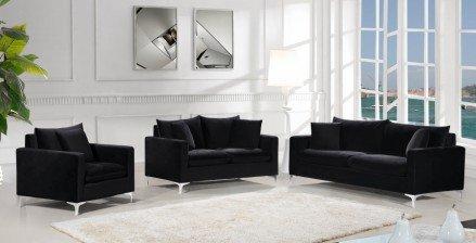 Meridian Naomi 2pc Velvet Living Room Set in Black - 1StopBedroom