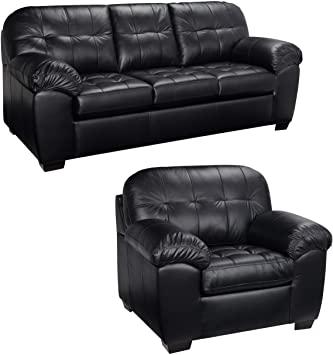 Amazon.com: Black Italian Leather Sofa and Chair Set - This Living .