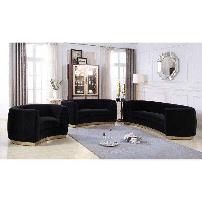Julian Living Room Set (Black/ Gold) by Meridian Furniture .