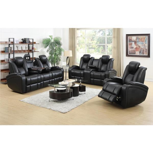 Shop DeNatali 3-piece Black Living Room Set - Overstock - 104769