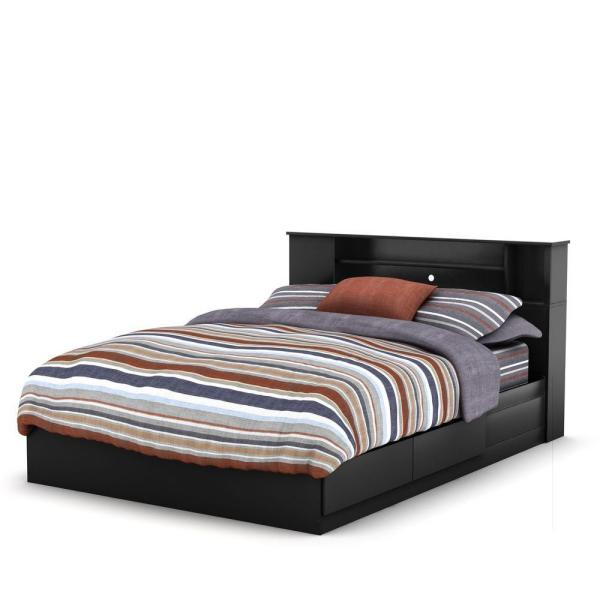 South Shore Vito 2-Drawer Pure Black Queen-Size Storage Bed 10040 .