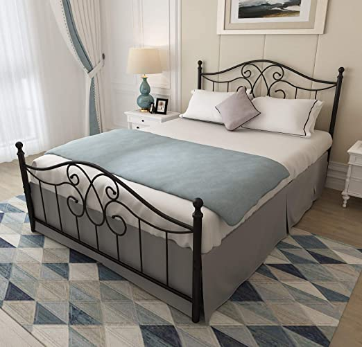 Amazon.com: Vintage Sturdy Queen Size Metal Bed Frame with .