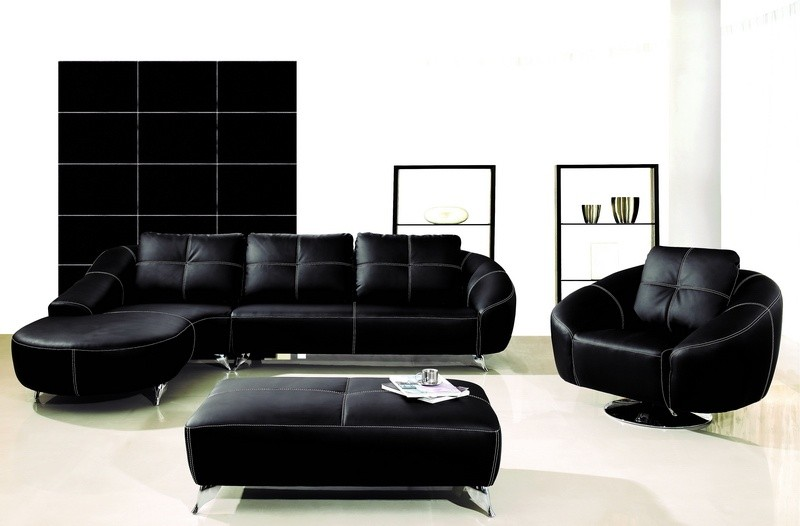 AE-L218R-B Black Chaise Sectional Sofa Collection - American Eagle .