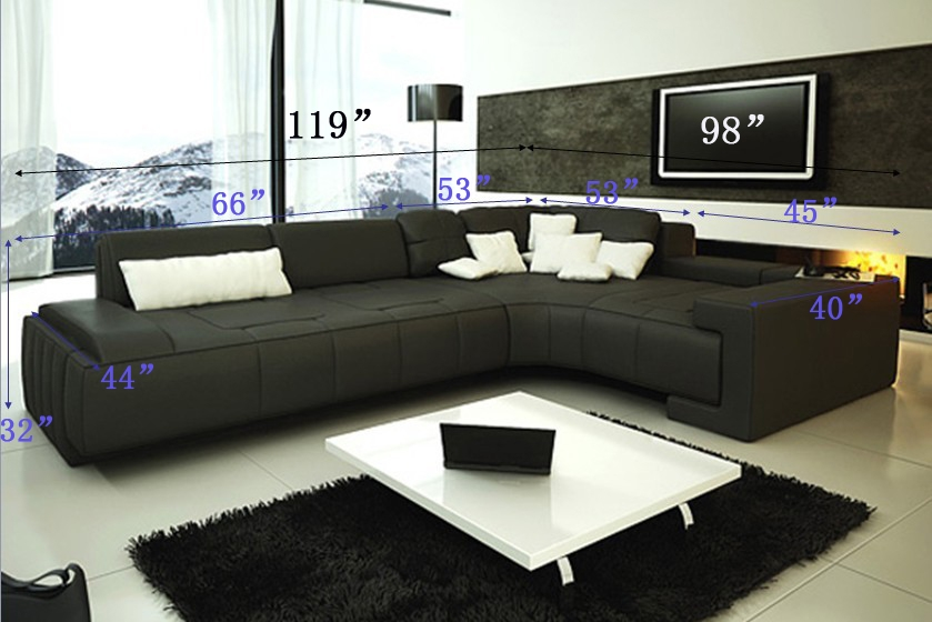 Franco Collection Modern Sectional Sofa - Black TOS-LF-1007-BLA