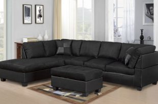 MODERN 2PC BLACK SECTIONAL SOFA AND CHAISE - Kassa Mall Home Furnitu