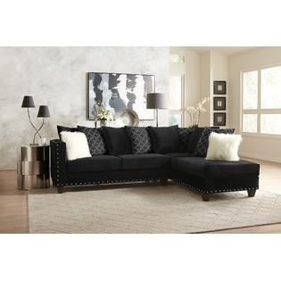 Esofastore Contemporary Classic Modern Black Sectional Sofa Chaise .