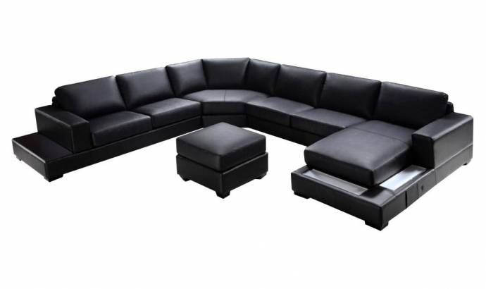 Soflex Baltimore Ultra Modern Black Faux Leather Sectional Sofa .