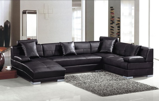Modern Black Leather U Shape Sectional Sofa with Chaise - Modern .