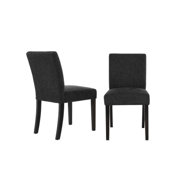 StyleWell Banford Ebony Wood Upholstered Dining Chair with Black .