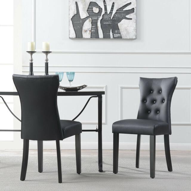 Set of (2) Elegant Tufted Design Black Faux Leather Upholstered .