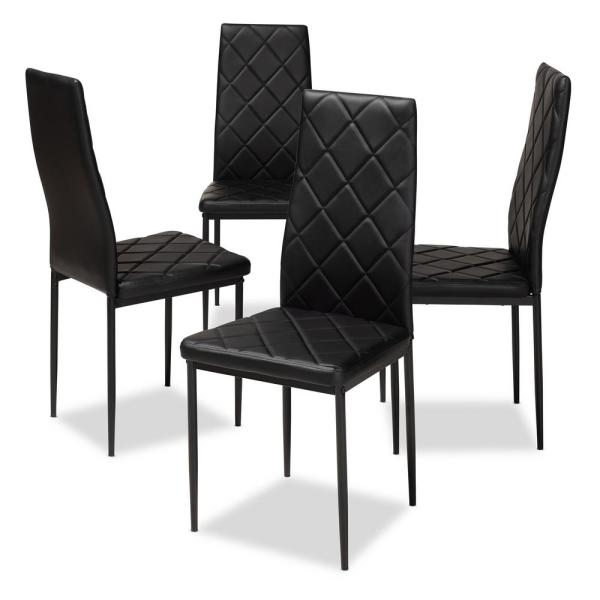 Baxton Studio Blaise Black Faux Leather Upholstered Dining Chair .
