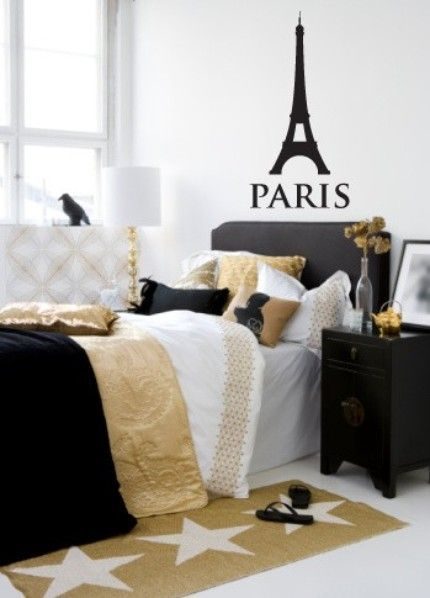 etsy love: the eiffel tower} | Paris themed bedroom, Gold bedroom .