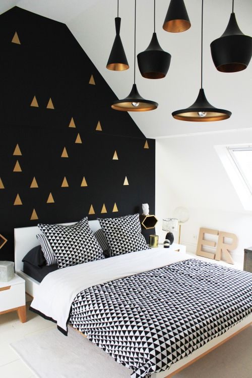 love the black wall with gold triangles! #bedroom décor, beds .