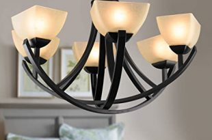 6-Light Black Wrought Iron Chandelier with Glass Shades (C-8016-6 .
