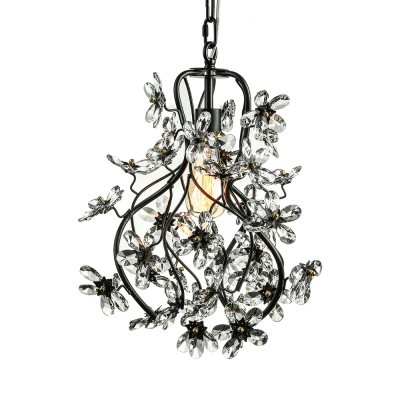 Sparkling Clear Crystal Floral and Swirled Branches Frame Black .