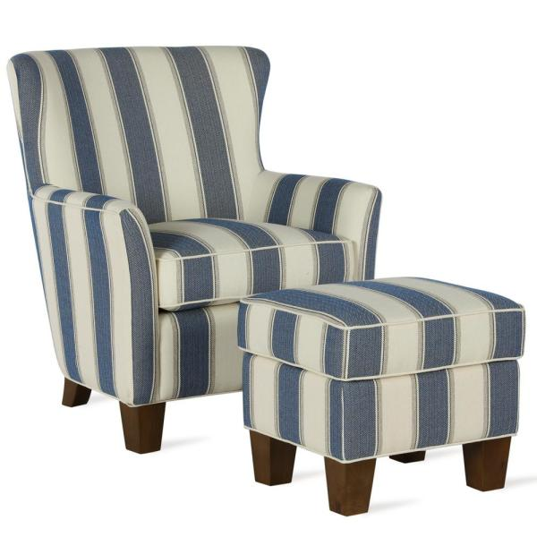 Dorel Living Pablo Blue Stripe Accent Chair & Ottoman Set .