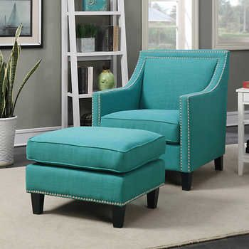 Emery Teal Accent Chair with Ottoman Costco $499 | Teal chair .