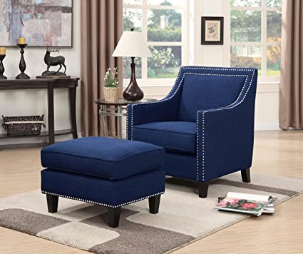 Amazon.com: Picket House Furnishings Emery Chair & Ottoman Blue .
